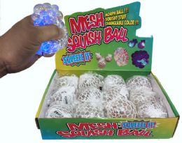 96 Units of Light Up Clear Squish Ball Star Shaped Glitter Display - Slime & Squishees