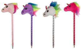 96 Units of Polka Dot With Unicorn Top Pen Assorted Colors - Pens