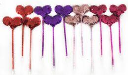 96 Units of Double Sided Sequins Heart Pen Assorted Colors - Pens