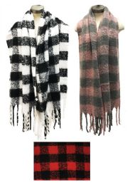 12 Units of Plaid Winter Long Scarves Assorted - Winter Scarves