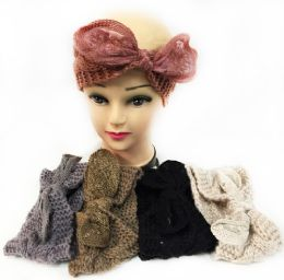 12 Units of Knitted Headbands With bendable Bow Assorted - Ear Warmers