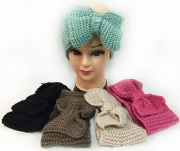 12 Units of Knitted Large Bow Solid Color Headbands Assorted - Ear Warmers