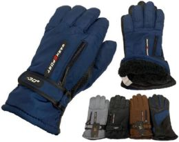 24 Units of Solid Color Man Glove With Inside Lining And Anti Slip Grip - Winter Gloves