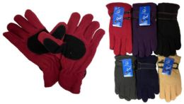 48 Units of Lady Fleece Glove With Faux Leather - Fleece Gloves
