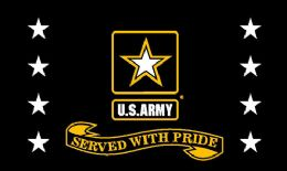 12 Units of Licensed U.S. Army Served with Pride Black Flag - Signs & Flags