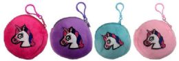 96 Units of Round Pastel Color Unicorn Coin Purse Assorted Colors - Coin Holders & Banks