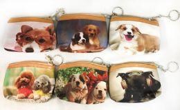 96 Units of Coin Purse Puppy Dog Design With Key Ring - Coin Holders & Banks