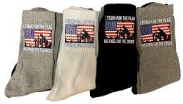 36 Units of Stand Flag Kneel Cross Mix Color Socks - Mens Crew Socks