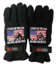 24 Units of Stand Flag Kneel Cross Fleece Glove - Fleece Gloves