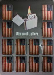 24 Units of Windproof Lighter Vintage American Flag - Lighters