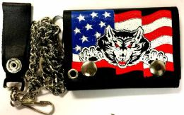 12 Units of Wolf And USA Flag Tri Fold Chain Leather Wallet - Leather Wallets