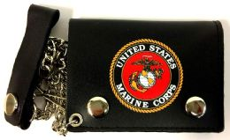 12 Units of Licensed US Marine Trifold Leather Chain Wallet - Leather Wallets