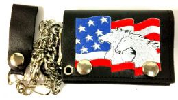 12 Units of Horses On USA Flag Tri Fold Leather Chain Wallet - Leather Wallets