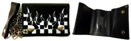 12 Units of Tri- Fold Leather Chain Wallet Checkered Racing Flames - Leather Wallets
