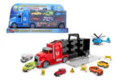 16 Units of Truck With Carry Case Play Set - Cars, Planes, Trains & Bikes