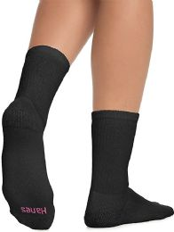 60 Units of Hanes Crew Sock For Woman Shoe Size 4-10 Black - Womens Crew Sock