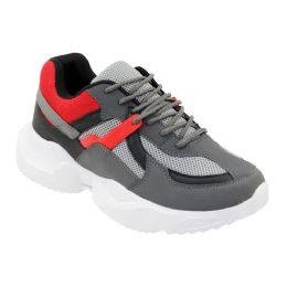 12 Units of Men's Casual Sneakers In Gray And Red - Men's Sneakers