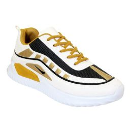 12 Units of Men's Casual Sneakers In White Gold And Navy - Men's Sneakers