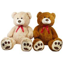 2 Units of Jumbo Plush Natural Bear with Bow - Plush Toys