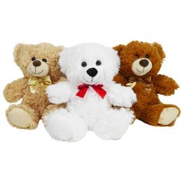 24 Units of Plush Natural Bear with Bow - Plush Toys