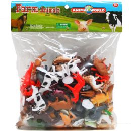 12 Units of PLASTIC FARM ANIMALS IN POLY BAG - Animals & Reptiles