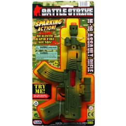 48 Units of MILITARY TOY RIFLE WITH SPARKING ACTION TIED ON CARD - Toy Weapons