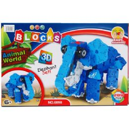 24 Units of Elephant Block Play Set In Color Box - Light Up Toys