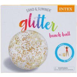 12 Units of GLITTER BEACH BALL IN COLOR BOX - Beach Toys