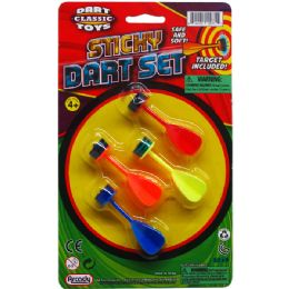 48 Units of STICKY DART PLAY SET ON BLISTER CARD - Darts & Archery Sets