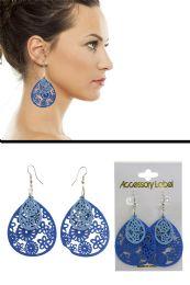 72 Units of Wooden Floral Pattern Cutaway Dangle Earrings Blue - Earrings