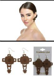 72 Units of Wooden Laser Etched Cross Dangle Earrings Assorted - Earrings
