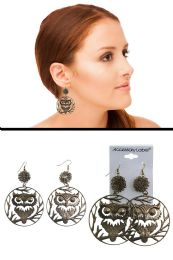 72 Units of Wire Tangle Owl Cutout Dangle Earrings Gold Tone - Earrings