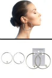 72 Units of Wide Ring Imitation Pearl Accent Hoop Earrings Silver Tone - Earrings
