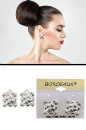 72 Units of Weave Pattern Square Clip On Earrings Silver Tone - Earrings