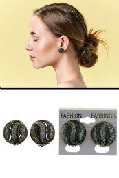 72 Units of Wavy Glitter Cutaway Dome Clip On Earrings Gray - Earrings