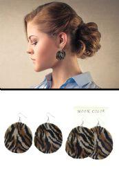 72 Units of Velvet Animal Print Disc Dangle Earrings Assorted - Earrings