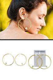 72 Units of Two Loop Imitation Pearl Hoop Earrings Gold Tone - Earrings