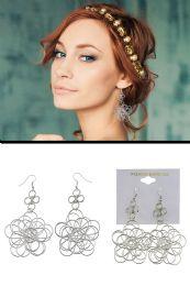 72 Units of Twisted Wire Flower Dangle Earrings Silver Tone - Earrings