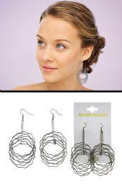 72 Units of Twisted Bar Wavy Loop Dangle Earrings Silver Tone - Earrings