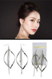 72 Units of Twisted Bar Chain Tassel Dangle Earrings Silver Tone - Earrings