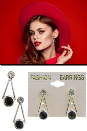 72 Units of Triangle Faceted Acrylic Accent Post Earrings Silver Tone - Earrings
