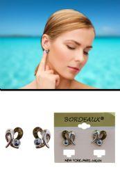 72 Units of Translucent Enamel Post Earrings Silver Tone - Earrings