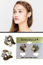 72 Units of Translucent Enamel Post Earring Silver Tone - Earrings