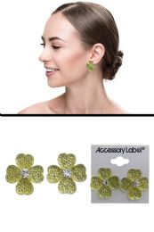 72 Units of Translucent Clover Post Earrings Yellow - Earrings