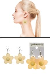 72 Units of Translucent Acrylic Flower Dangle Earrings Assorted - Earrings