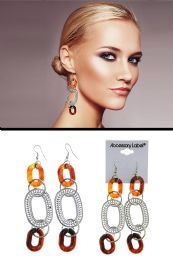72 Units of Tortoiseshell Acrylic Ring Dangle Earrings Silver Tone - Earrings
