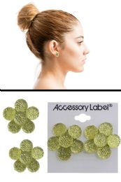 72 Units of Textured Translucent Flower Post Earrings Yellow - Earrings