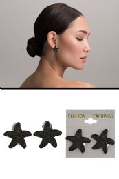 72 Units of Textured Starfish Clip On Earrings Gray - Earrings