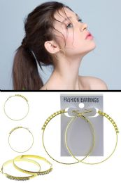 72 Units of Textured Crystal Accent Hoop Earrings Gold Tone - Earrings