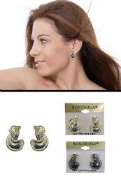 72 Units of Teardrop Filigreed Chain Tassel Dangle Earrings Silver Tone - Earrings